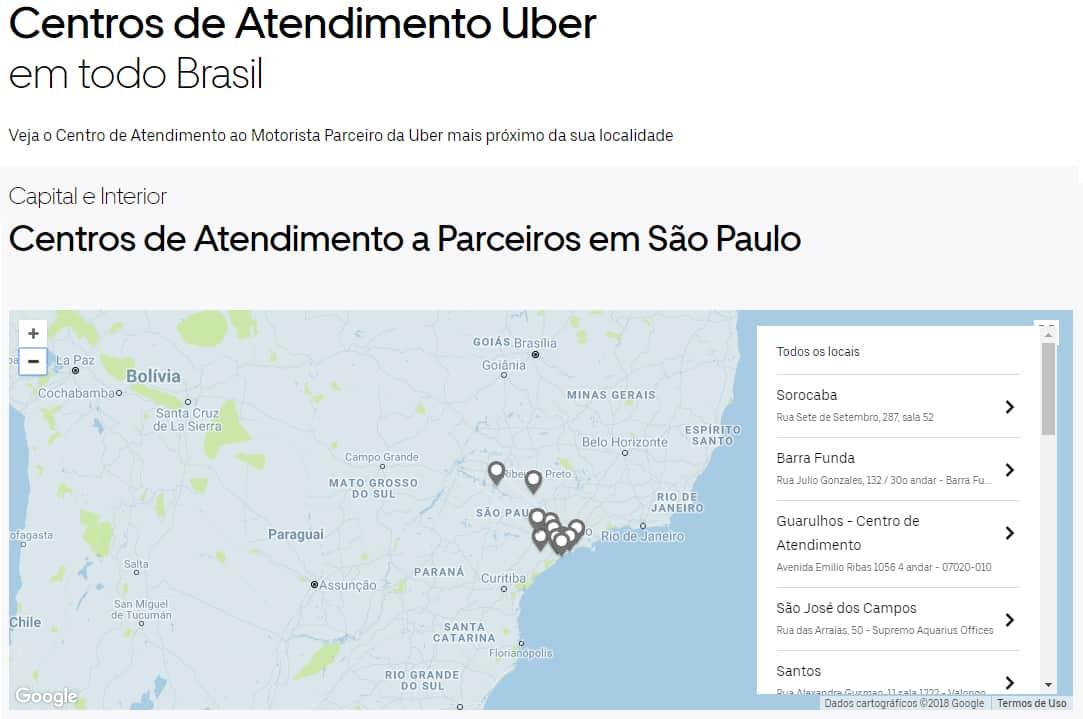 Centros de Atendimento Uber no Brasil