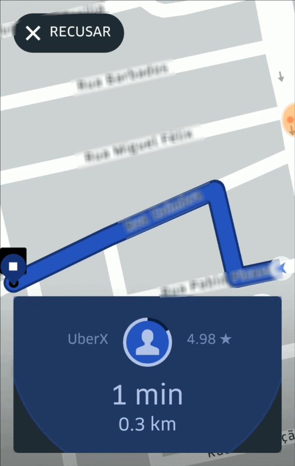Primeira Viagem Uber - Aceitar corrida