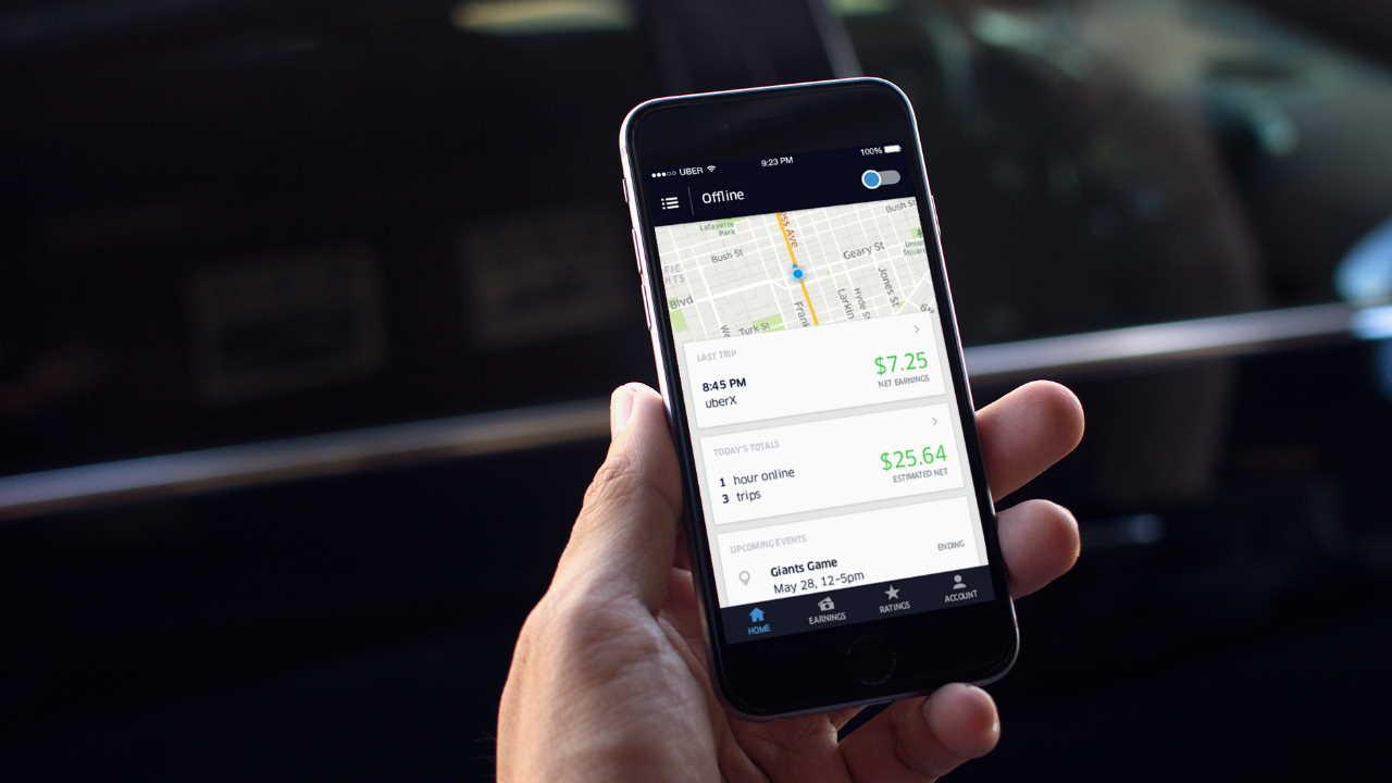 Ganhos de viagens abertos no aplicativo Uber