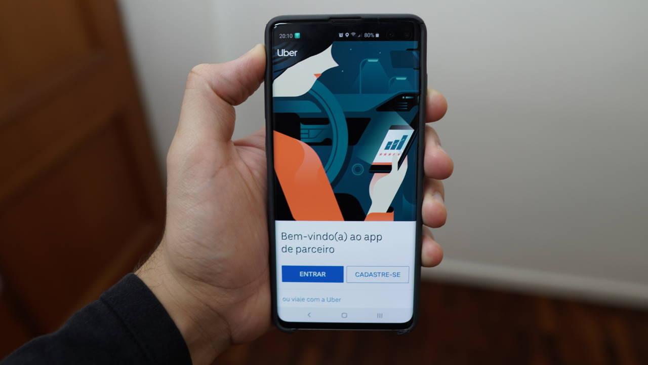 Tela inicial do aplicativo Uber de motoristas