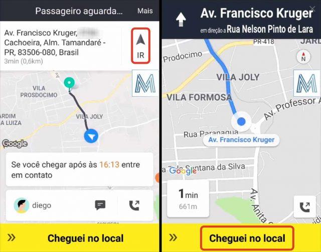 Tela de informações do passageiro no app de motorista da 99