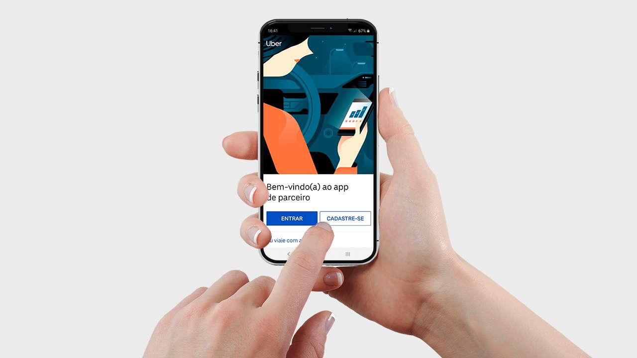 Tela inicial app da Uber